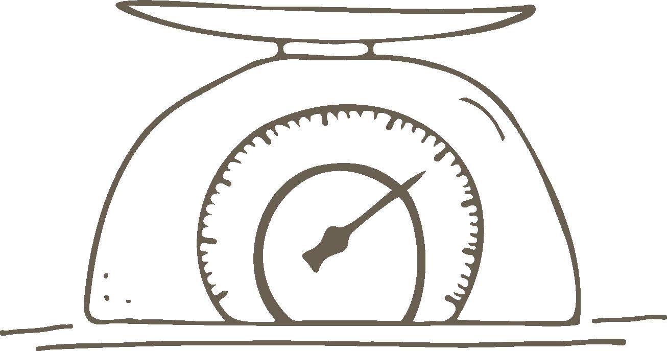 Behältnis leer selbst wiegen und Gewicht notieren